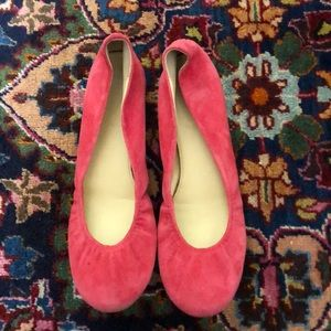 J Crew red suede flats